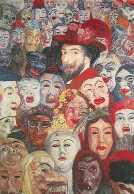 James Ensor, Ensor with Masks Fine Art Reproduction Oil Painting