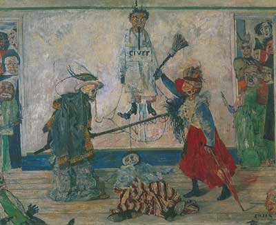 James Ensor, Masks Fighting over a Hanged Man Fine Art Reproduction Oil Painting