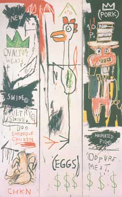 Jean-Michel Basquiat, Quality Meats for the Public (3 Panels) Fine Art Reproduction Oil Painting