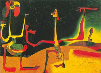 Joan Miro, Man in Women in Front of a Pile of Excrement Fine Art Reproduction Oil Painting