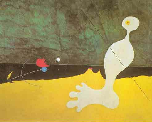 Joan Miro, Person Throwing a Stone at a Bird Fine Art Reproduction Oil Painting