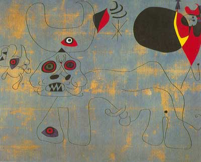 Joan Miro, Women and Birds at Sunrise Fine Art Reproduction Oil Painting