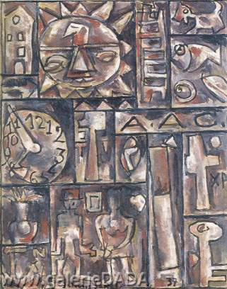 Joaquin Torres-Garcia, Composition with Deformed Objects Fine Art Reproduction Oil Painting