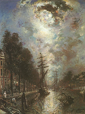 Johann Barthold Jongkind, Canal in Rotterdam Fine Art Reproduction Oil Painting