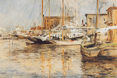 John Henry Twatchman, Oyster Boats, North River Fine Art Reproduction Oil Painting