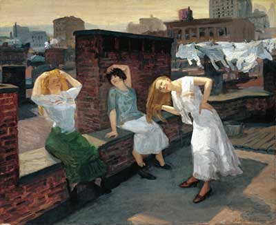 John Sloan, Sunday, Women Drying Their Hair Fine Art Reproduction Oil Painting