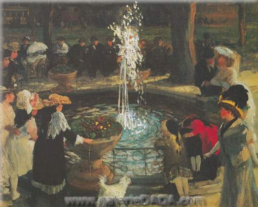 John Sloan, Throbbing Fountain Maddison Square Fine Art Reproduction Oil Painting