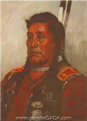 Joseph Henry Sharp, Chief Bear in the Cloud - Crow Fine Art Reproduction Oil Painting