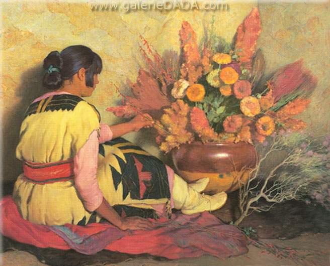 Joseph Henry Sharp, Crucita A Taos Indian Girl Fine Art Reproduction Oil Painting