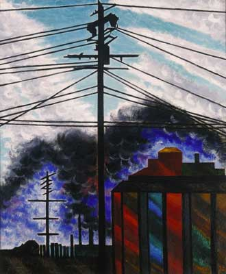 Joseph Stella, Telegraph Poles with Buildings Fine Art Reproduction Oil Painting
