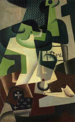 Juan Gris, Bottle of Beaune and a Fruit Dish Fine Art Reproduction Oil Painting