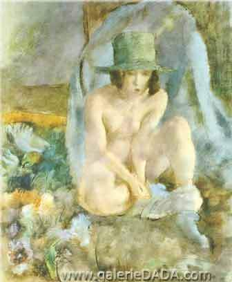 Jules Pascin, Nude with a Green Hat Fine Art Reproduction Oil Painting