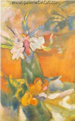 Jules Pascin, The Vase of Flowers Fine Art Reproduction Oil Painting