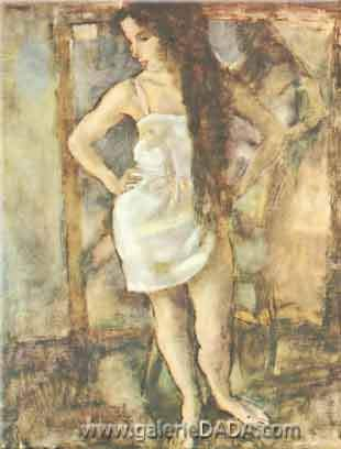 Jules Pascin, Young Girl Standing Fine Art Reproduction Oil Painting