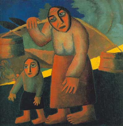 Kasimar Malevich, Peasant Woman with Buckets and a Child Fine Art Reproduction Oil Painting