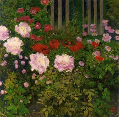 Koloman Moser, Blooming Flowers with Garden Fence Fine Art Reproduction Oil Painting