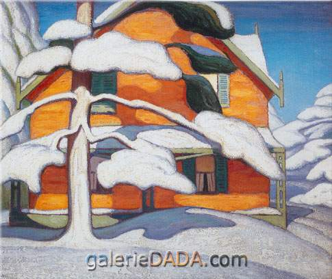 Lawren Harris, Pine Tree and Red House Fine Art Reproduction Oil Painting