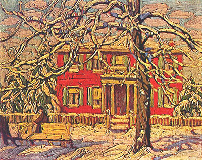 Lawren Harris, Red House Winter Fine Art Reproduction Oil Painting
