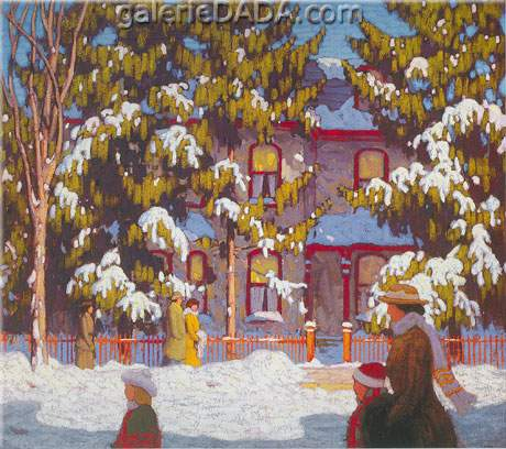 Lawren Harris, Winter Afternoon City Street Toronto Fine Art Reproduction Oil Painting