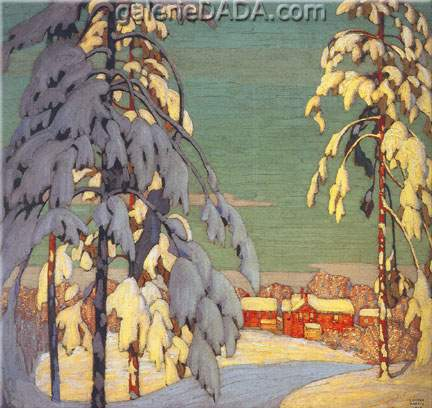 Lawren Harris, Winter Landscape with Pink House Fine Art Reproduction Oil Painting