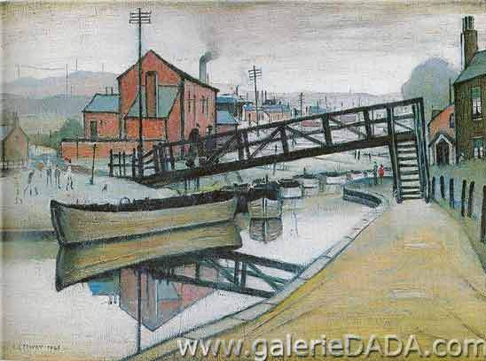L.S. Lowry, Barges on a Canal Fine Art Reproduction Oil Painting