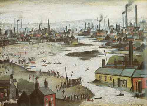 L.S. Lowry, River Scene Fine Art Reproduction Oil Painting