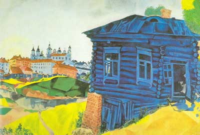 Marc Chagall, The Blue House Fine Art Reproduction Oil Painting