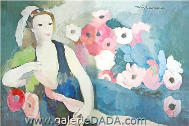 Marie Laurencin, Young Woman with Anemones Fine Art Reproduction Oil Painting