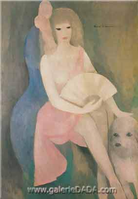 Marie Laurencin, Young Woman with Fan Fine Art Reproduction Oil Painting
