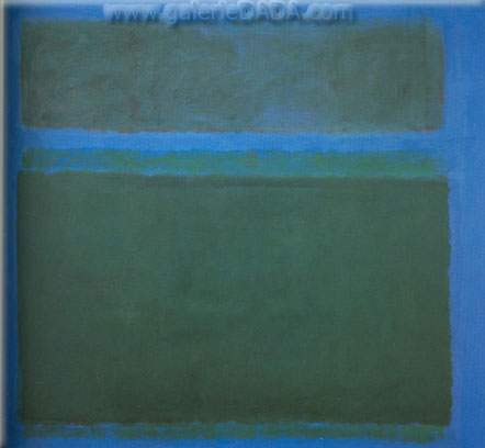 Mark Rothko, Blackish Green Tone on Blue Fine Art Reproduction Oil Painting