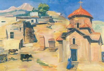 Martiros Saryan, Karmravor Church. Ashtarak Fine Art Reproduction Oil Painting