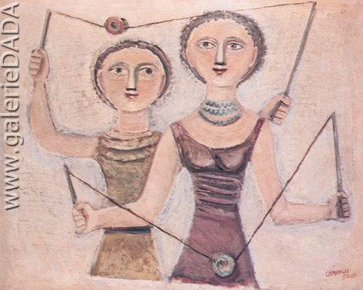 Massimo Campigli, A Game Fine Art Reproduction Oil Painting