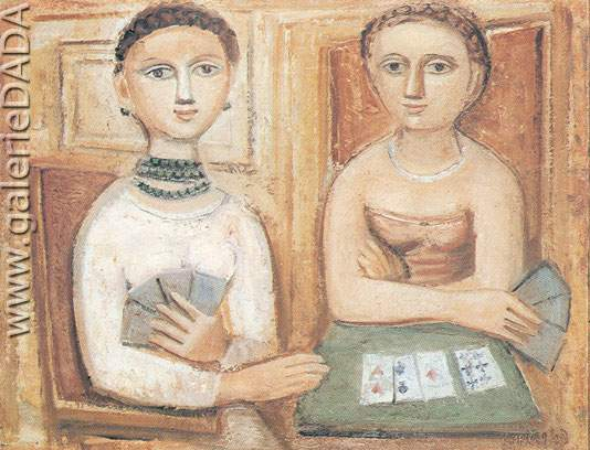Massimo Campigli, A Game of Cards Fine Art Reproduction Oil Painting