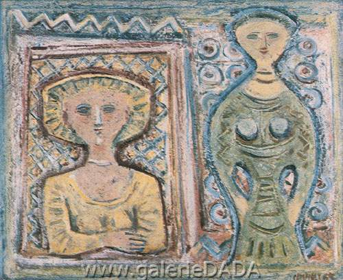 Massimo Campigli, Two Figures Fine Art Reproduction Oil Painting