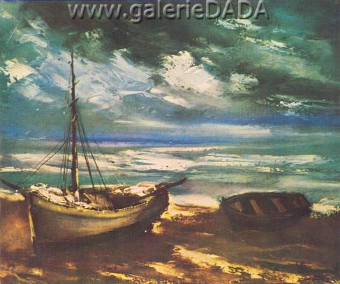 Maurice de Vlaminck, Boats at Low Tide Fine Art Reproduction Oil Painting