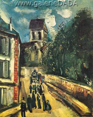 Maurice de Vlaminck, The Church at Auvers-sur-Oise Fine Art Reproduction Oil Painting