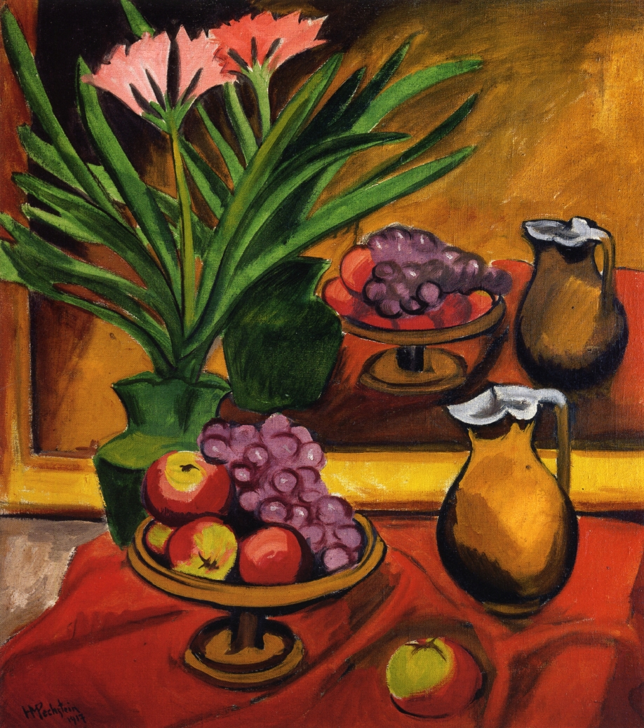 Max Pechstein, Still Life with Mirror Clivia, Fruit and Jug Fine Art Reproduction Oil Painting