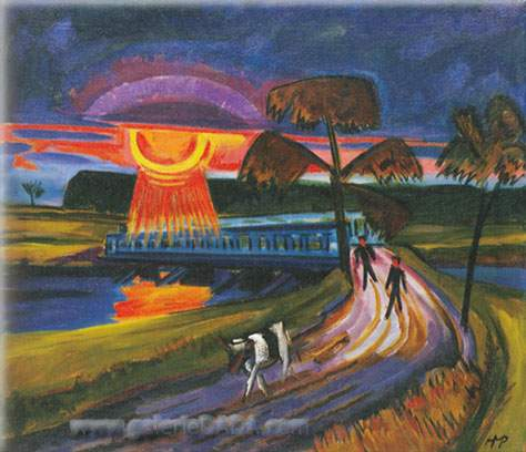 Max Pechstein, Sunset over the Blue Bridge Fine Art Reproduction Oil Painting