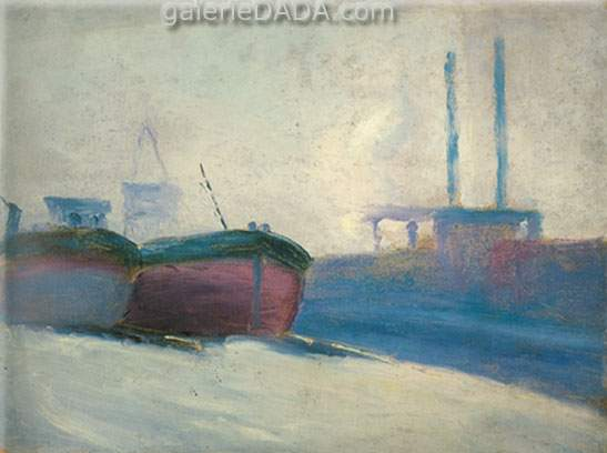 Milton Avery, Boats and Trawler Fine Art Reproduction Oil Painting