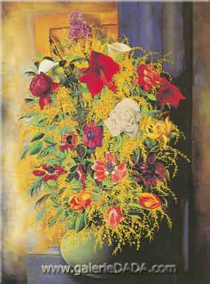 Moise Kisling, Flowers and Mimosa Fine Art Reproduction Oil Painting