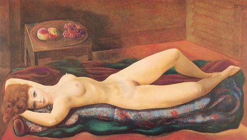 Moise Kisling, Large Red Nude Fine Art Reproduction Oil Painting