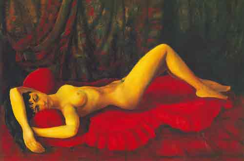 Large Red Nude on a Sofa - Moise Moise, Fine Art Reproduction Oil Painting