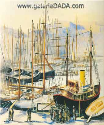 Moise Kisling, Marseille Port Fine Art Reproduction Oil Painting