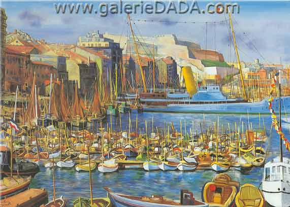Moise Kisling, Marseille Port (2) Fine Art Reproduction Oil Painting