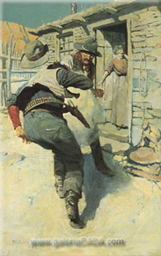N.C. Wyeth, Hahn Pulled His Gun Fine Art Reproduction Oil Painting