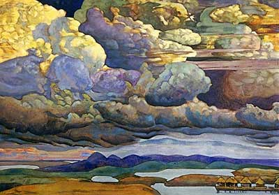 Nicholas Roerich, Battle in the Heavens Fine Art Reproduction Oil Painting