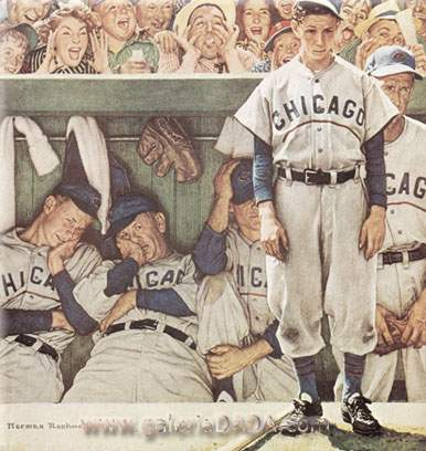 Norman Rockwell, The Dugout Fine Art Reproduction Oil Painting
