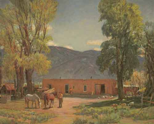 Oscar Berninghaus, A Hacienda in Taos Fine Art Reproduction Oil Painting