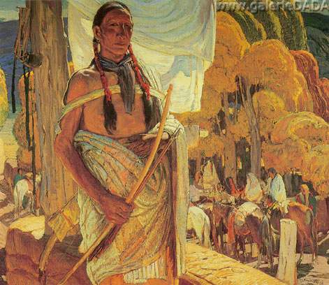 Oscar Berninghaus, A Hunter of Taos Pueblo Fine Art Reproduction Oil Painting