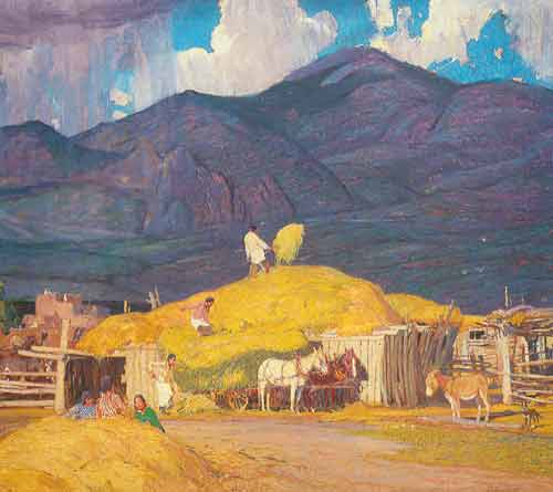 Oscar Berninghaus, Haytime and Showers Fine Art Reproduction Oil Painting